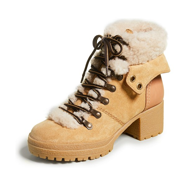 See By Chloe eileen mid-heel boots in beige - Fur: Dyed sheepskin, from South Africa Leather:...