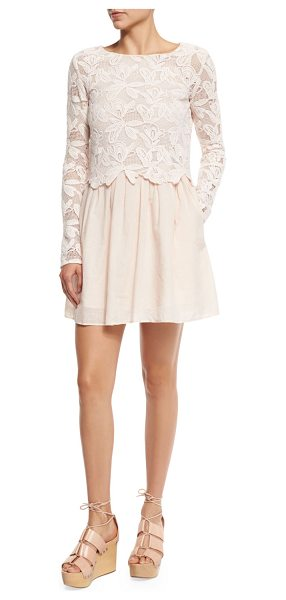 SEE BY CHLOE Floral Mesh & Poplin Dress - See by Chloe combo dress in floral mesh and poplin....
