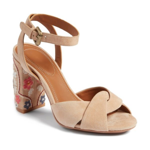See By Chloe gayla embroidered block heel sandal in nude - Colorful flower embroidery blossoms on the wrapped block...