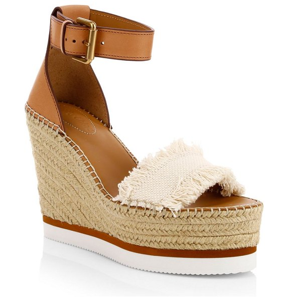 See By Chloe glyn denim espadrille wedge sandals in latte