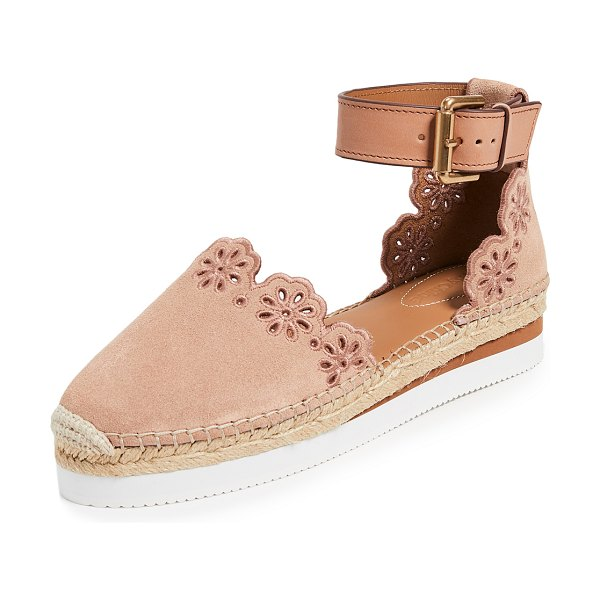 See By Chloe glyn flat espadrilles in cipria - Leather: Calfskin Embroidered flowers and trim...