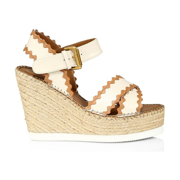 See By Chloe glyn leather platform espadrille wedge sandals in natural