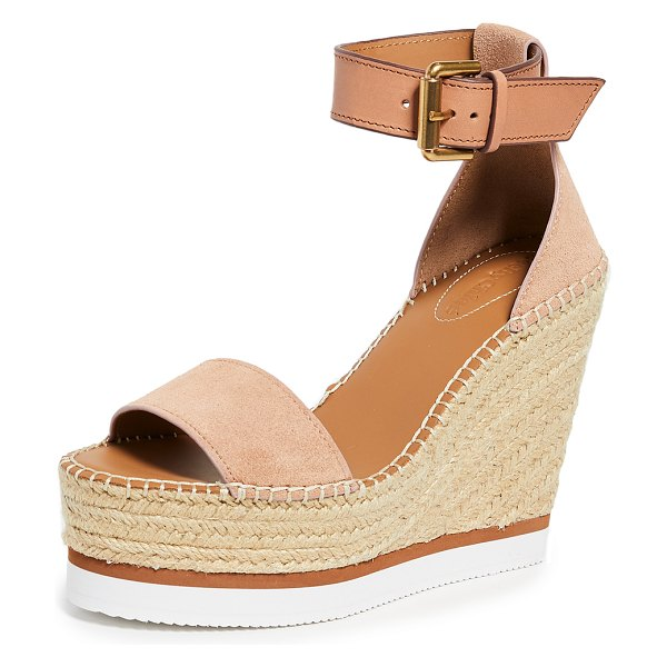 See By Chloe glyn wedge espadrilles in cipria - Leather: Calfskin Espadrilles Wedge heel Platform...