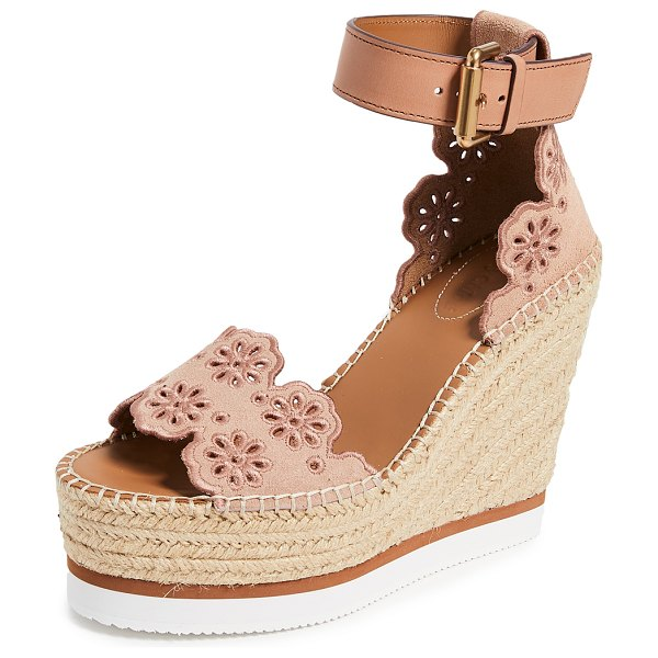 See By Chloe glyn wedge espadrilles in cipria - Leather: Calfskin Suede Braided jute trim Espadrilles...