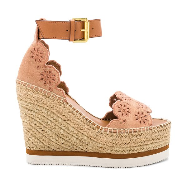 """See By Chloe Glyn Wedge Sandal in rose - """"Leather and suede upper with man made sole. Ankle strap..."""