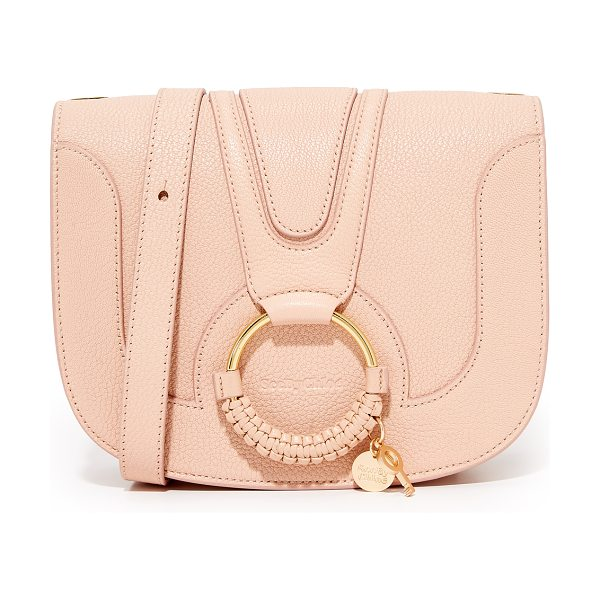 See By Chloe hana medium saddle bag in powder - This See by Chloé saddle bag is crafted from pebbled...