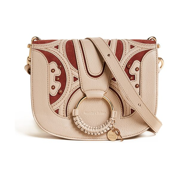 See By Chloe hana saddle bag in pearl beige - A mix of suede and pebbled leather lends sophisticated...