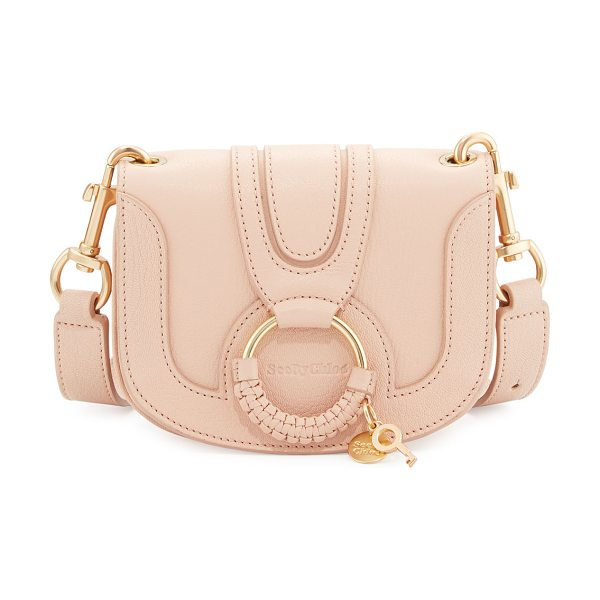 SEE BY CHLOE Hana Small Ring Saddle Bag in powder - See by Chloe leather saddle bag. Golden hardware....