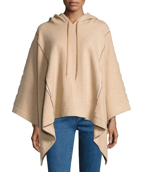 SEE BY CHLOE Hooded Rib-Knit Poncho - See by Chloe poncho in soft ribbed knit with exposed...