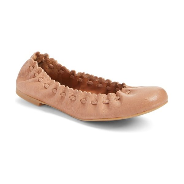 See By Chloe 'jane' ballerina flat in nude - A tonal drawstring cinches the scalloped topline of a...