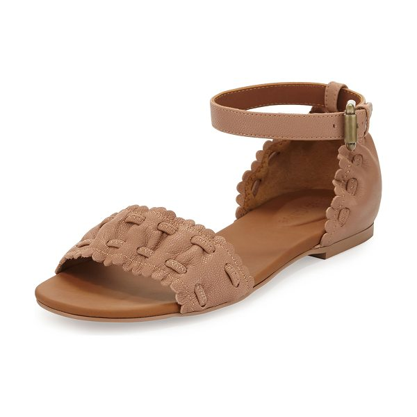 "SEE BY CHLOE Jane Scalloped Ankle-Wrap Sandal - See by Chloe pebbled goatskin sandal. 0.3"" stacked heel...."