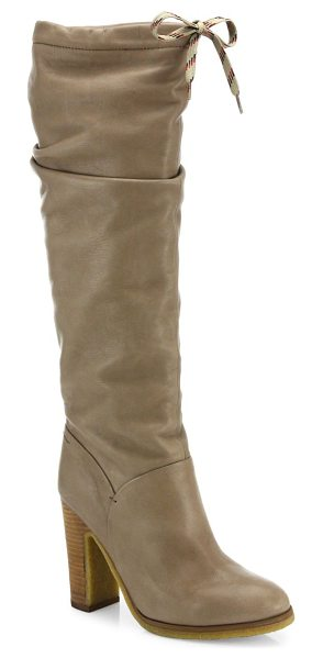 See By Chloe jona tall leather boots in beigekhaki - A sporty tie closure contrasts supple calfskin. Contrast...