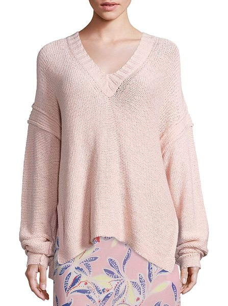 See By Chloe knit v-neck sweater in silver pink - Solid knit sweater designed for a relaxed fit. Ribbed...