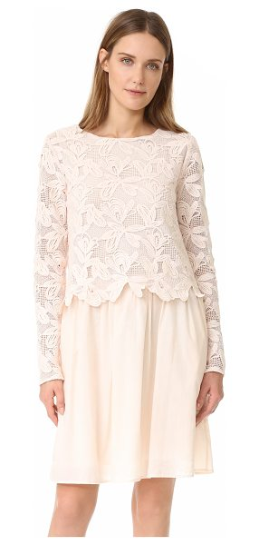 See By Chloe lace long sleeve dress in powder - A floral lace shell lends tonal dimension to this See by...