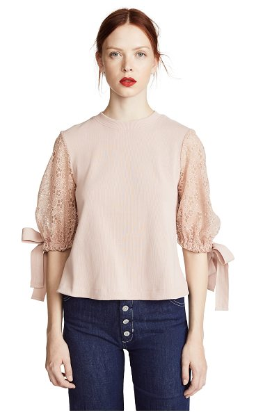 See By Chloe lace puff sleeve top in smoky pink - Fabric: Ribbed knit Lace sleeves with tie cuffs...