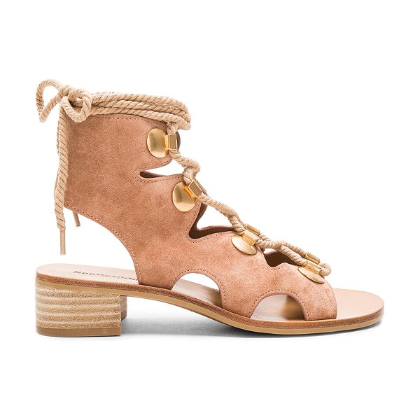 See By Chloe Lace Up Sandal in natural - Suede upper with man made sole. Lace-up front with wrap...