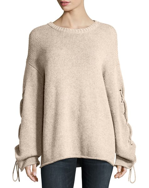 See By Chloe Lace-Up Sleeves Cable-Knit Pullover Sweater in beige - See by Chloe soft cable-knit sweater with lace-up...