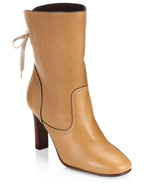 See By Chloe lara tan lace-up boots in tan - Lace-up back updates enduring leather booties Stacked...