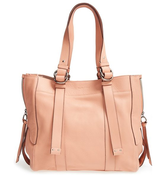 See By Chloe Large bonnie leather tote in sweet peach - Sporty racing-stripe zip gussets detail the sides of a...