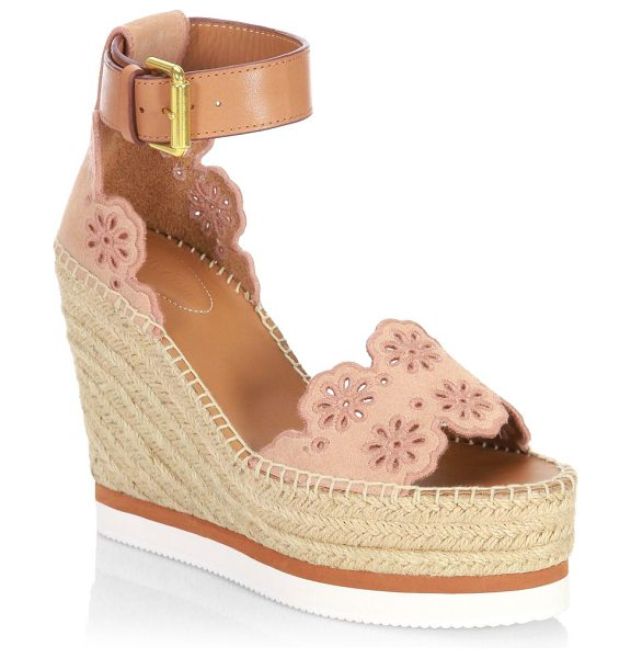 See By Chloe laser-cut suede wedge espadrilles in beige rose - Suede wedge espadrilles designed with floral cutouts....