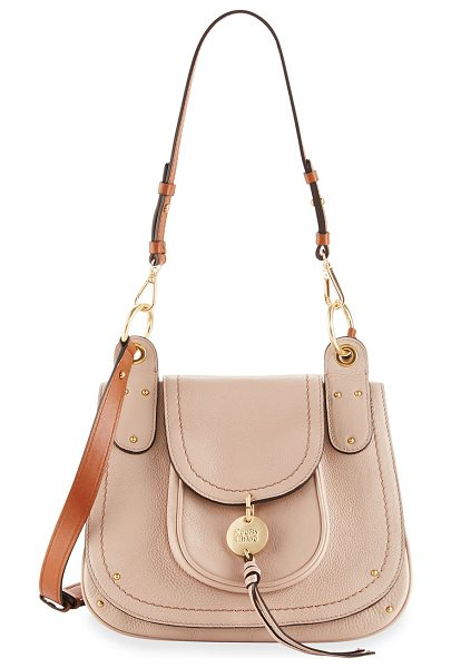 SEE BY CHLOE Leather Flap Shoulder Bag - See by Chloe grained leather shoulder bag. Golden...