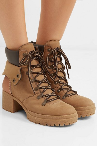 See By Chloe leather-trimmed suede ankle boots in beige - Don't have any hiking boots on your wish list yet? Then...