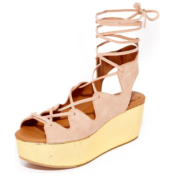 See By Chloe lilly wedge lace up sandals in cipria - A metallic cork platform adds a glam lift to these suede...