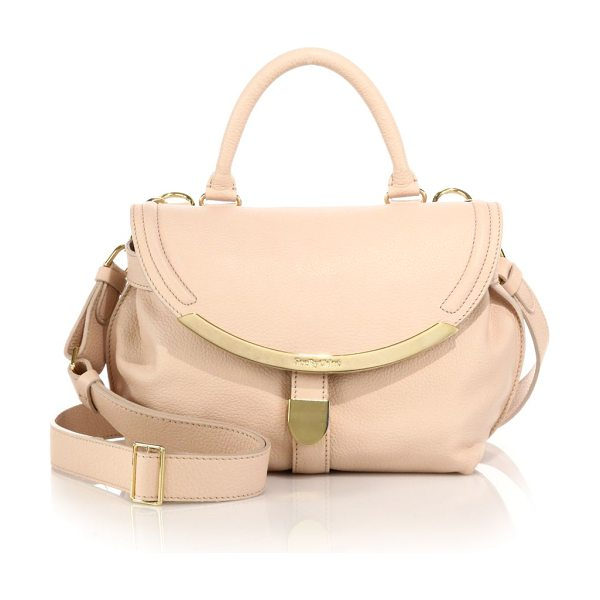 See By Chloe Lizzie small satchel in nude - Sleek metal trimmings lend refined glamour to this soft...