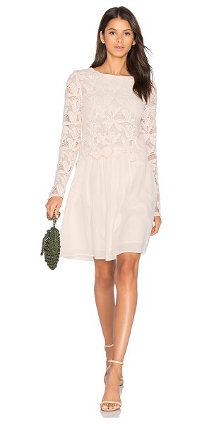 See By Chloe Long Sleeve Lace Mini Dress in blush - 100% cotton. Dry clean only. Partially lined. Crochet...