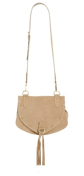 See By Chloe Medium collins suede crossbody bag in sand shell - Round studs and tassel embellishments add a hint of...