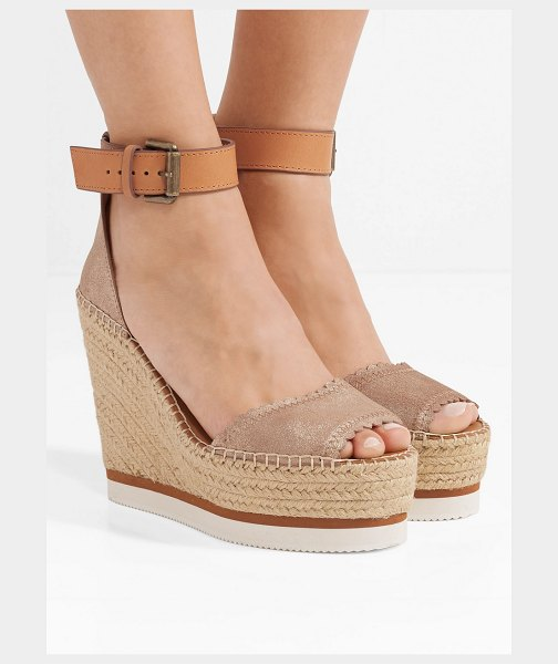 See By Chloe metallic leather espadrille wedge sandals in gold - EXCLUSIVE AT NET-A-PORTER.COM. See By Chloé's sandals...