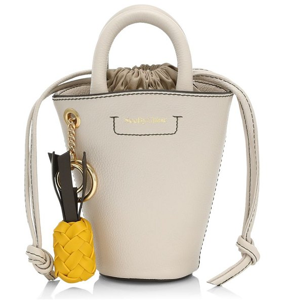 See By Chloe mini cecilia drawstring bucket bag in cement beige
