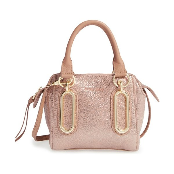 See By Chloe Mini paige metallic leather crossbody bag in pastel pink