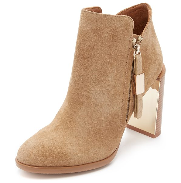 See By Chloe Nara booties in beige - An inset metallic accent updates these suede See by...