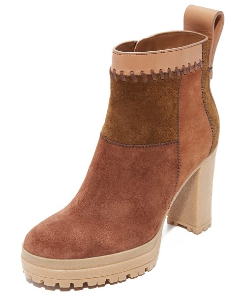 SEE BY CHLOE polina patchwork booties - Patchwork suede brings a retro-inspired look to these...
