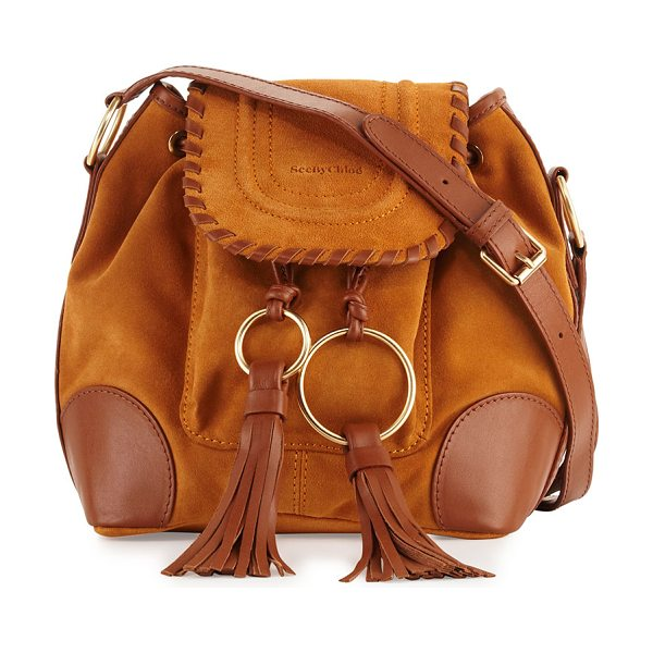 SEE BY CHLOE Polly Suede Flap Bucket Bag - See by Chloe suede shoulder bag with fringe tassels....
