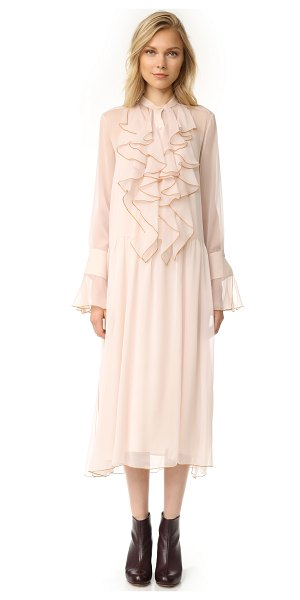 See By Chloe ruffle dress in powder - A filmy chiffon See by Chloe dress with an airy,...