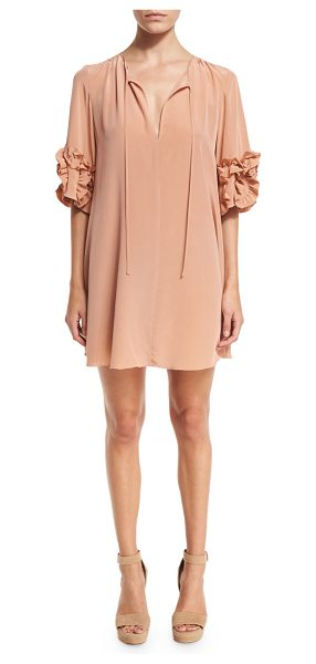 See By Chloe Ruffle-Sleeve Silk Shift Dress in beige - See by Chloe mini dress in silk. V neckline with...