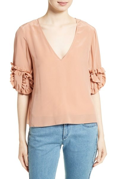 See By Chloe ruffle sleeve silk top in dusty nude - Ruffled tufts add whimsical volume to the elbow-length...