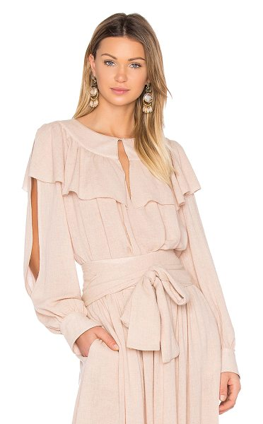 See By Chloe Ruffle Top in blush - 70% viscose 30% wool. Dry clean only. Neckline keyhole...