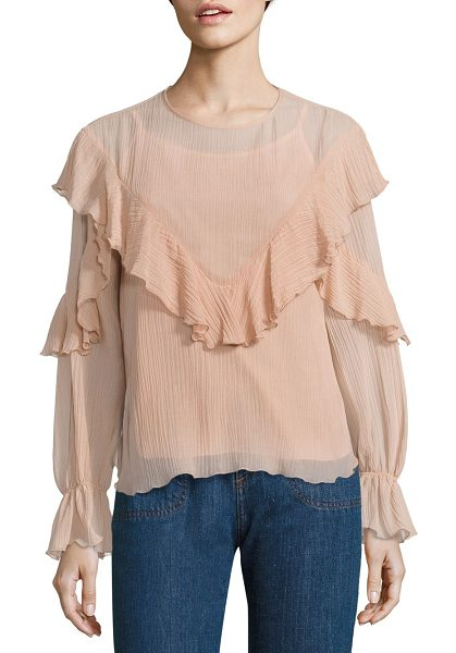 See By Chloe ruffled cotton & silk gauze blouse in nude - Fluttering ruffles and bell sleeves style gauze blouse....