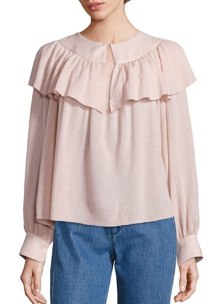 See By Chloe ruffled gauze top in powder - Attractive ruffled overlay style this feminine top....