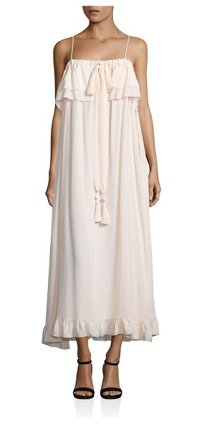 See By Chloe ruffled silk maxi dress in pale pink - Elegantly ruffled maxi dress crafted from smooth silk....