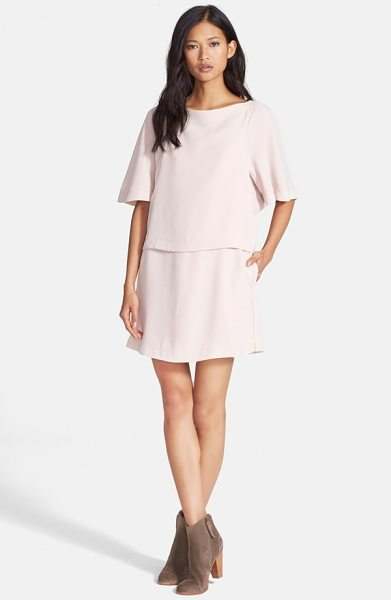 See By Chloe sanded crepe popover dress in blush - A popover bodice gives a two-piece look to this dreamy...