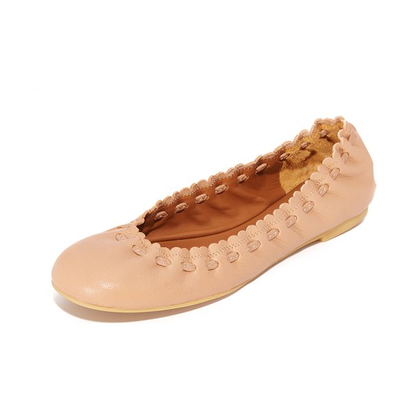 See By Chloe scallop ballet flats in biscotto - Woven ties accent the scalloped top line on these...