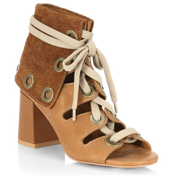 """SEE BY CHLOE selma leather lace-up booties - Suede foldover cuffs top open-toe booties. Block heel, 3""""..."""