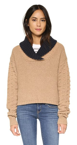 See By Chloe Shawl neck sweater in camel - Mixed knits add texture to this See by Chloé sweater,...