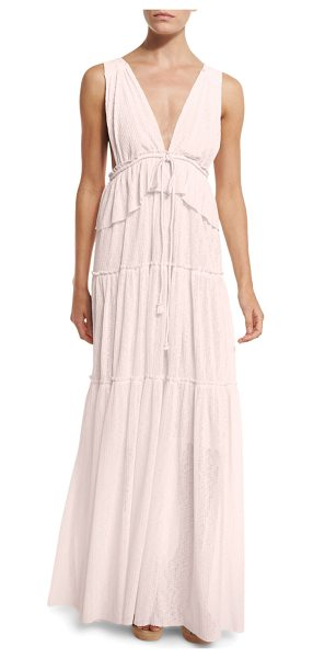 See By Chloe Sleeveless Tiered Voile Maxi Dress in pink - See by Chloe maxi dress in voile. Deep V neckline;...