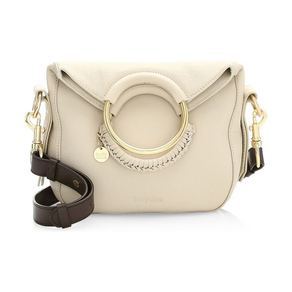See By Chloe small leather monroe bag in cement beige - Leather bag with goldtone hopp handles with weaving...