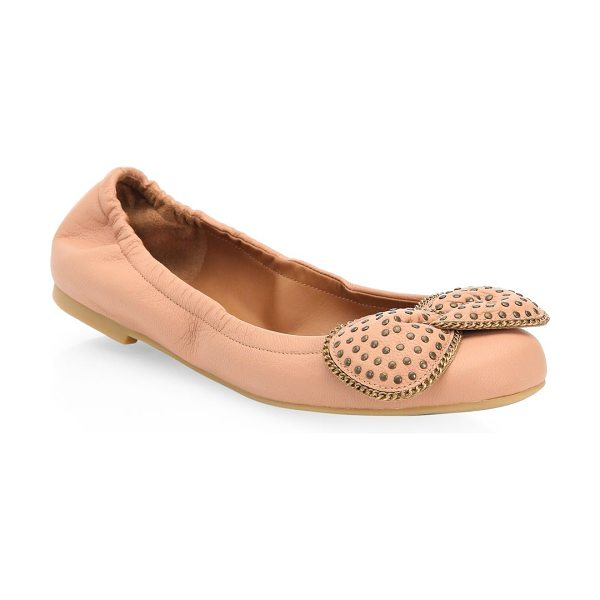 See By Chloe studded leather ballet flats in rosellina - Leather ballet flats with bow detail on toe. Leather...